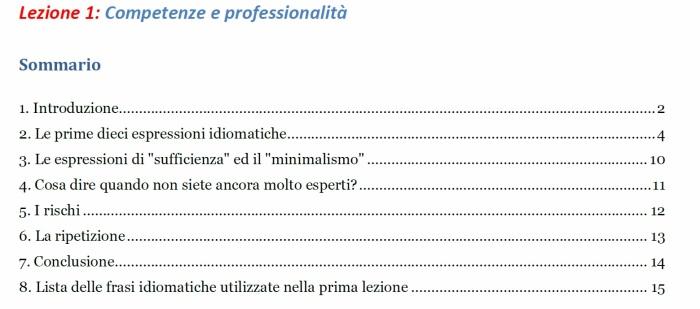 Sommario lezione n. 1 - Italiano Professionale